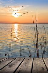 Panel Szklany Popularne paseo de madero por la orilla del lago