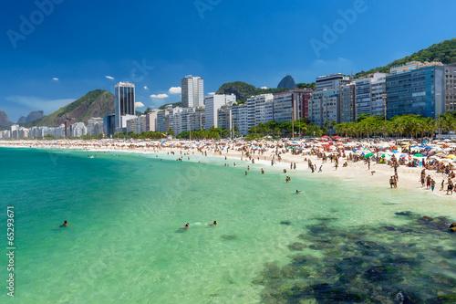 City on the water view of Copacabana beach in Rio de Janeiro, Brazil