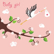 Cute cartoon flowering branch.Flying stork with newborn baby-gir