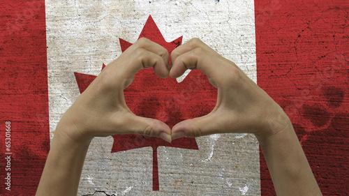 Papiers peints Canada Hands Heart Symbol Canadian Flag