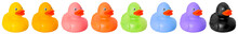 Toy Rubber Colored Ducks Isolated On White