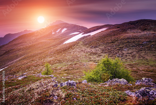 Aluminium Prints Salmon Beautiful mountains landscape