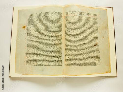 Opened vintage book with text in ancient Greek alphabeth #65314029