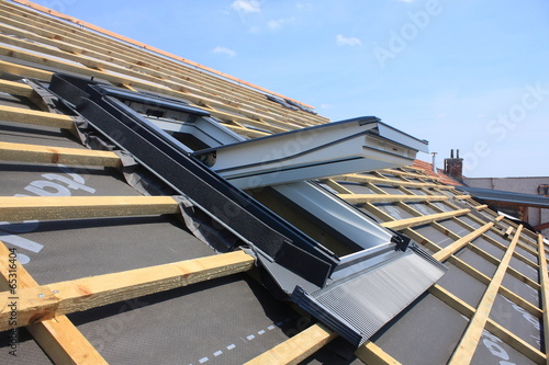 Stampa su Tela New roof coverings but without the skylights -  roof windows