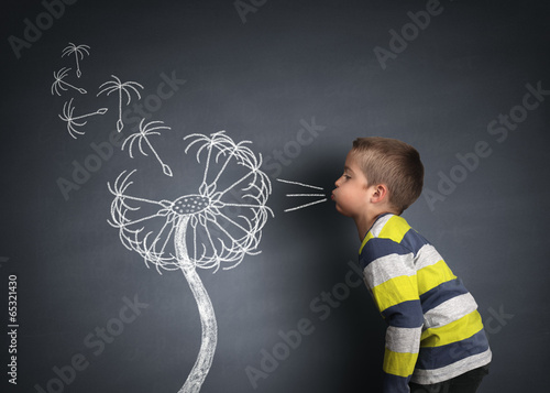 Poster Pissenlit Child blowing dandelion seeds