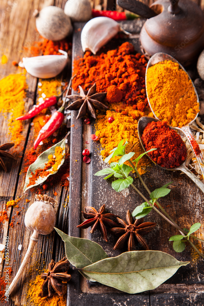 Obraz Various spices on wood fototapeta, plakat