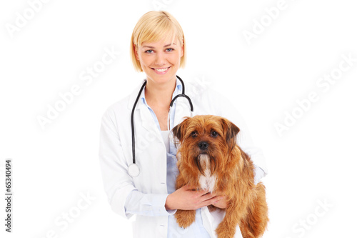 Happy vet with a terrier