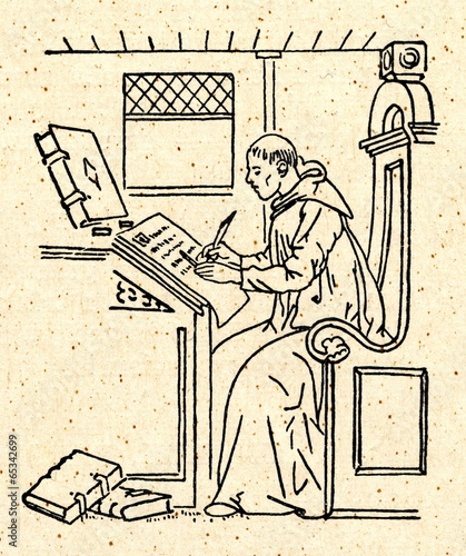 Photo Copying of manuscript by monastic scribe