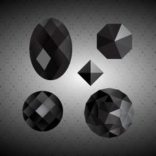 Black Crystals. Gemstone.