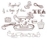 Tea time doodle background