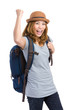Excited young female tourist raise hand up