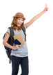 Young woman with backpack finger pointing up