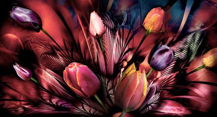 Panel Szklany Tulipany tulips abstrackt