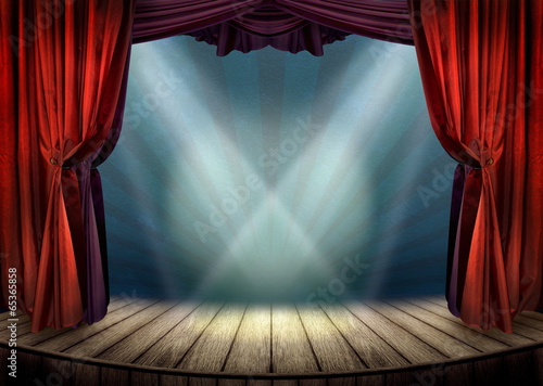 Papiers peints Lumiere, Ombre Theater stage with red curtains and spotlights