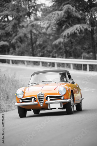Türaufkleber Schnelle Autos Orange classic car