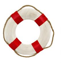 Red Lifesaver Lifebuoy Life Belt Isolated On White Background