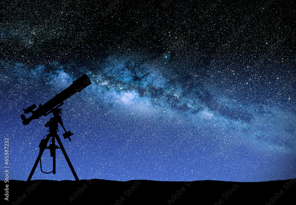 Fototapety, obrazy: Telescope watching the wilky way