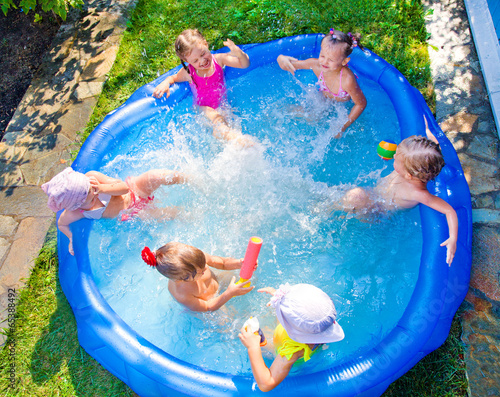 children in swimming pool Canvas Print