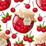 Cherry jam seamless pattern