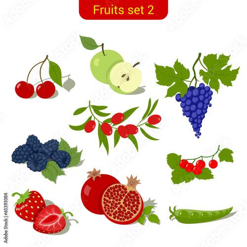 Fruits high detail vector icon set. Сherry, apple, grape, berry Fototapete