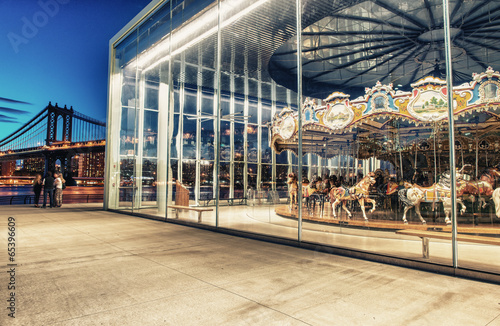 BROOKLYN, NY - JUNE 11, 2013: Historic Jane's Carousel in Brookl Canvas Print