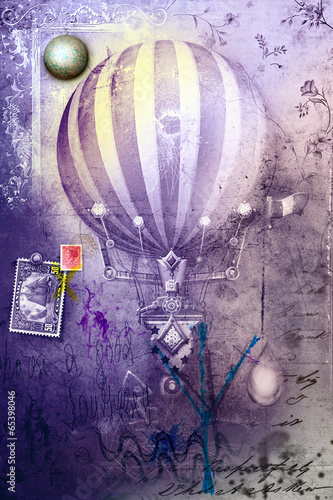 Photo Stands Imagination Hot air balloon in grunge background