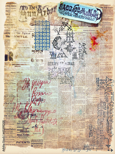 Canvas Prints Imagination Collage of old mysterious papers and maps series
