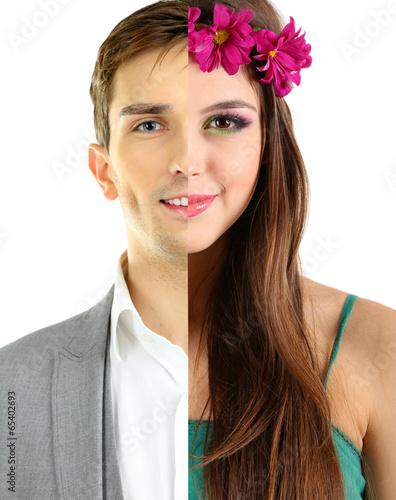Fotografía  Unity concept. Half of man and woman