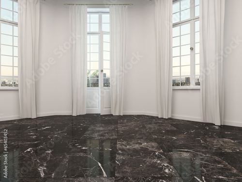 Photo Empty room with marble floor and patio doors