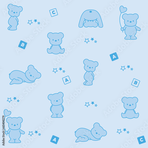 Baby blue background. Funny bears - 65404279