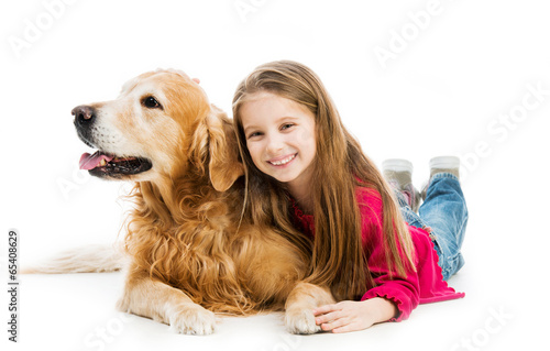 Retriever and  little girls