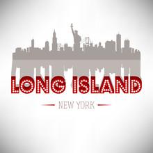 Long Island USA Skyline Silhouette Vector Design.