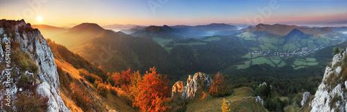 Fotografie, Obraz  Panorama - Fall in Slovakia mountain Fatras