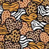 animal print hearts seamless background