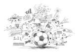Fototapeta Sport - soccer doodle
