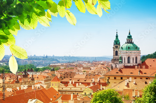 Printed kitchen splashbacks Prague Church of St. Nicholas red tile roofs in Prague