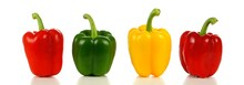 Row Of A Variety Of Bell Peppers, Red, Green And Yellow