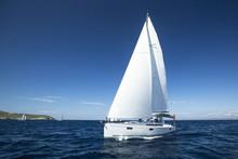 Boat In Sailing Regatta. Luxur...