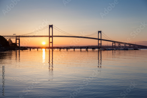 In de dag Brug Newport Bridge Sunrise