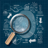 Business Fingerprint doodles line drawing blueprint success