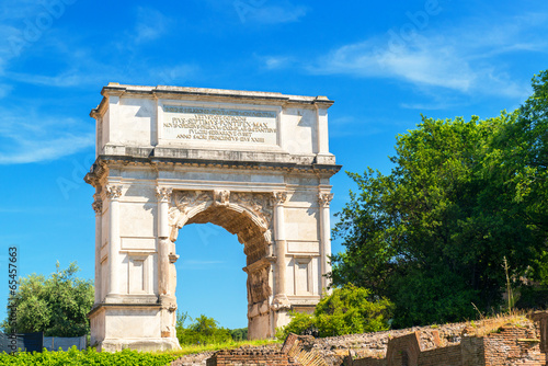 Canvas Print Arch of Titus in ancient Roman Forum, Rome, Italy