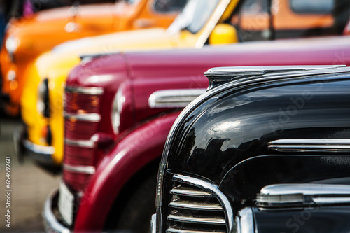 Photo Stands Vintage cars parade of vintage luxury cars