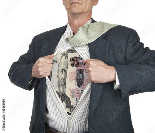 Photo  Businessman showing fifty dollar bill superhero suit underneath