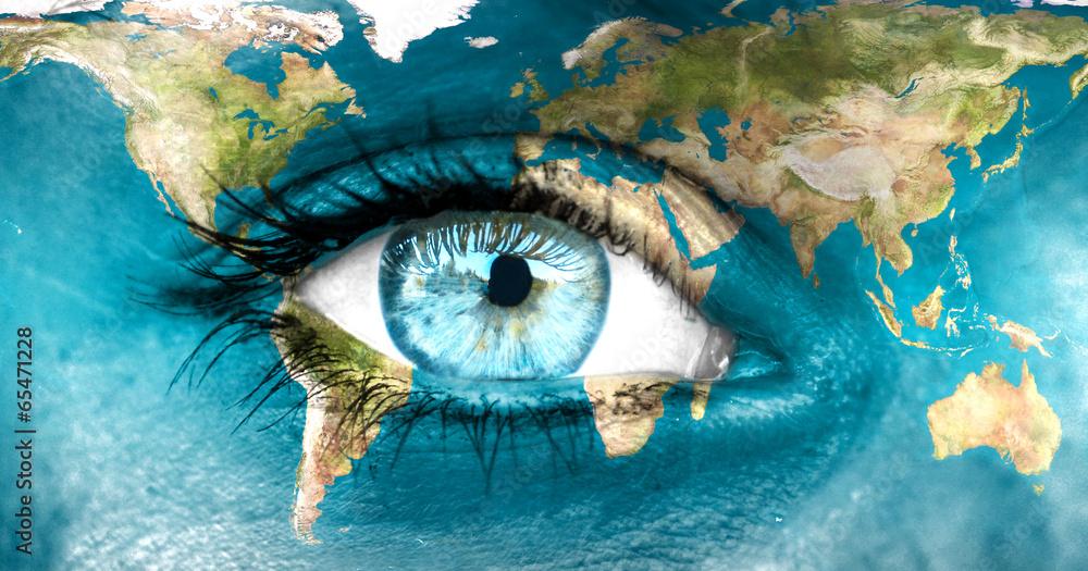 Fototapeta Planet earth and blue human eye -