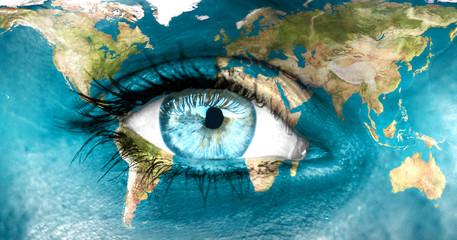 """Planeta Ziemia i niebieskie ludzkie oko - """"Elementy tego obrazu tworzą"""