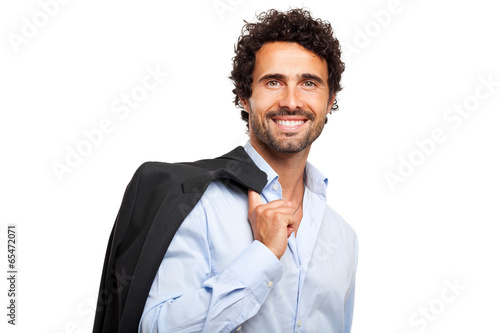 Photo  Businessman holding his jacket