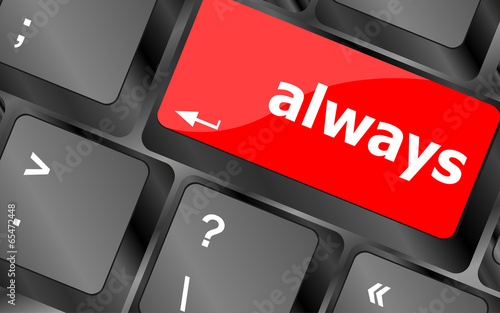 Fotografie, Obraz  Computer keyboard button with always word on it
