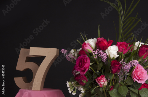 Fotografie, Obraz  Happy birthday with roses