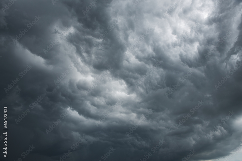 Dramatic sky with dark clouds