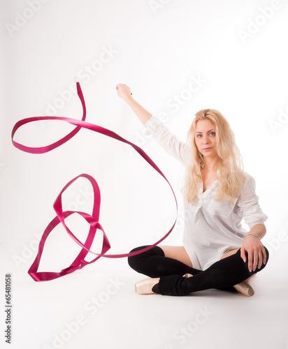 Foto op Plexiglas Fitness rhythmic gymnastics woman